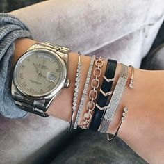 Stacked in EF Collection gold + leather bracelets and ready for the weekend!  Xo, EF