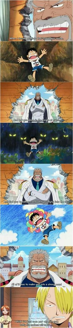 Garp, Luffy, young, childhood, Sanji, Nami, funny, text, quote, comic; One Piece