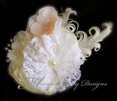 Ivory White and Blush Vintage Hair Clip by ManaiaBabyDesigns, $12.75