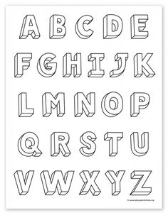 "Learn how to draw letters with a ""cheat sheet"" that gives you a clear example of the entire alphabet, along with a few tracing templates for practice. Doodle Fonts, Doodle Lettering, Graffiti Lettering, Lettering Styles, Block Lettering, Lettering Ideas, Doodle Art, 3d Letters, Letters For Kids"