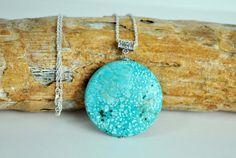 Turquoise Pendant Silver Chain Natural Stone Rare by PugaFashion, $35.00