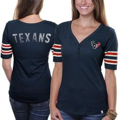 47 Brand Houston Texans Ladies Playoff T-shirt - Navy Blue Texans Football 89bfc7973
