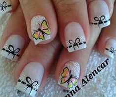 Cute Nails Might do this minus the butterflies. Beautiful Nail Designs, Cool Nail Designs, Stiletto Nails, Toe Nails, Gorgeous Nails, Pretty Nails, Sassy Nails, Butterfly Nail, Toe Nail Art