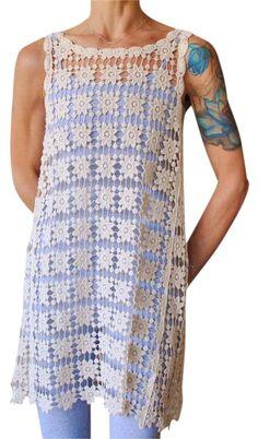 e1d76726c7 White Crochet Macrame Ivory Tank Dress Swimsuit Beach Sheer Cover-up/Sarong