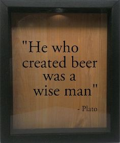 """Wooden Shadow Box Wine Cork/Bottle Cap Holder 9""""x11"""" - He Who Created Beer Was A Wise Man (Ebony)"""