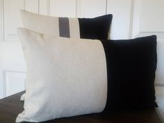 Linen Pillow Covers in Black and Beige, and many more colors to choose from at www.etsy.com/shop/wpbhomedecor