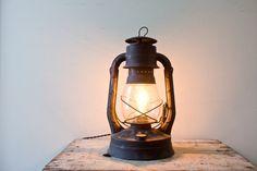 Vintage Black Lantern Light  Electric Lantern Air by whiskyginger