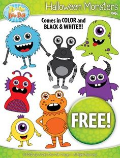 FREE Halloween Monsters Clipart Set  Over 14 Graphics!You will receive 14 clipart graphics that were hand drawn by myself including a Black & White Outlined graphic. These bright and colorful monsters would be perfect for any Halloween unit. Files are provided in both .jpg and .png images. (white background: .jpgs / transparent background: .pngs)This freebie is part of my Thirteen Days of Halloween Giveaway Event I'm having over on my Facebook page.