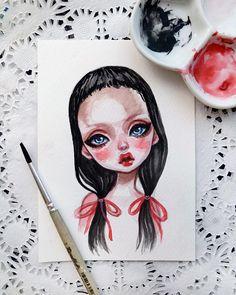 #art #illustration #popart #babyart #doll #artistsofinstagram #watercolor #postcard #blackfury