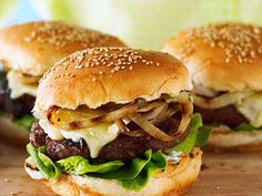 Cherry & Brie Burgers with Rosemary & Grilled Onion Recipe | MyRecipes