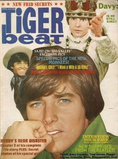 Tiger Beat Magazine with Bobby Sherman, Davy Jones, and Sajid Khan on cover.