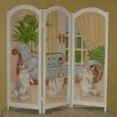 Calico Cats Room Divider or Folding Screen Furniture Makeover, Diy Furniture, Room Deviders, Dressing Screen, Litter Box Covers, Movable Walls, Room Divider Screen, Cat Room, Furniture Arrangement