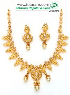 22K Gold Necklace & Drop Earrings Set with Uncut Diamonds & South Sea Pearls - DS364 - Indian Jewelry from Totaram Jewelers