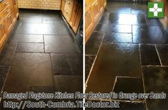This customer in Grange-over-Sands, a town on the Morecambe Bay, contacted us because an oven cleaning company had spilt a strong cleaning solution onto their Sandstone Flagstone Kitchen tiles, damaging them. The customer hadn't realised the damage until after the oven company had been paid, and because nothing had been said at the time the cleaning company unfortunately wouldn't accept responsibility.