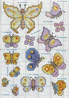 Gráficos de Ponto Cruz em PDF: Borboletas