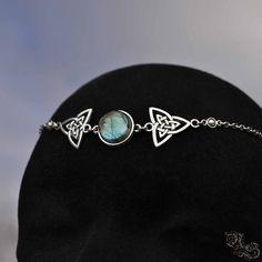 Circlet Avalon - Labradorite - celtic knot head jewelry forehead diadem elven stone elf aesthetic - North Shaman