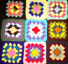 36 Crochet Granny Square Blocks for Afghan 6 Inches Multicolored by Isabellarts on Etsy