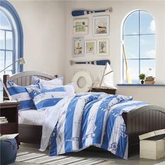 Auvoau Kids bedding Duvet Cover Set Sailboats Nautical Themed Kids Boys bedding Duvet Cover Set Queen *** Be sure to check out this awesome product. Blue Bedding Sets, Kids Bedding Sets, Luxury Bedding Sets, Modern Bedding, Teen Boy Bedding, Dorm Bedding, Bed Duvet Covers, Duvet Cover Sets, Room Above Garage