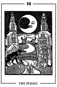 The Moon - Light and Shadow Tarot by Michael Goepferd and Brian Williams