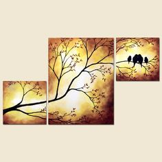 Items similar to Family Birds Painting Birds in Tree Branch Painting 42 x 24 Large Custom Art on Etsy Bird Painting Acrylic, Love Birds Painting, Pour Painting, Large Painting, Stone Painting, Multiple Canvas Paintings, Simple Canvas Paintings, Paintings I Love, Art Painting Gallery