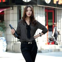 Women's V Neck Polka Dots Print Long Sleeve Chiffon Shirt Save up to Off at Light in the Box with Coupon and Promo Codes. Boho Outfits, Pretty Outfits, Fashion Outfits, Pretty Clothes, Fashion Women, Chiffon Shirt, Blouses For Women, Long Sleeve, Sleeves