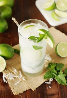 Ditch the margaritas, and enjoy a refreshing Coconut Mojito for your Cinco de Mayo . Such a delicious combination of fresh mint, lime, & coconut! Healthy Cocktails, Refreshing Cocktails, Summer Drinks, Cocktail Drinks, Fun Drinks, Cocktail Recipes, Alcoholic Drinks, Summertime Drinks, Vodka Cocktails