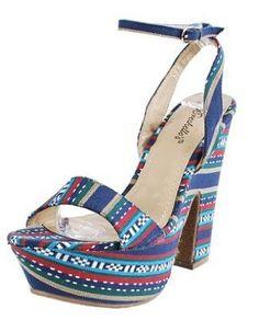 PLATFORMS Blue TRIBAL Sandal Womens Heels Shoes $25