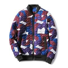 35.84$  Watch here - http://di5i9.justgood.pw/go.php?t=200671004 - Stand Collar Zip Up Geometric Camo Padded Jacket