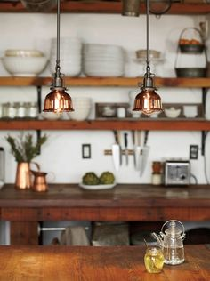 Rejuvenation Summerize Sweepstakes: Copper Dome Metal Shades in multiples help brighten the kitchen island