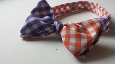 Our Purple and Orange Gingham Bow Tie is now available in a bigger checked fabric!