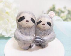 Custom Handmade Wedding Cake Toppers Love Grey Sloth
