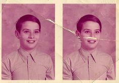 Vintage photo print of two copies of the school portrait of an unknown boy from the 1950s. I love his slightly crazy wide-eyed look. Image is pink.