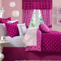 pink girl's room, polka dots; 2 shades of pink/raspberry