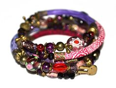 Purple red and bronze adjustable wrap by PurpleTurtleStore on Etsy