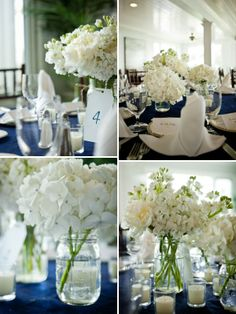 love the white flowers and dark blue!