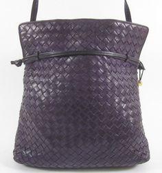 BOTTEGA VENETA Dark Purple Woven Leather Flap Messenger Shoulder Handbag at www.ShopLindasStuff.com