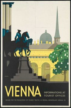 Vintage Austrian travel poster for Vienna. The poster shows a scene of Vienna. Illustrated by Hermann Kosel, circa Vintage Travel Poster. Old Poster, Poster Ads, Poster Prints, Advertising Poster, Comics Vintage, Vintage Art, Vintage Room, Poster Shop, Hallstatt