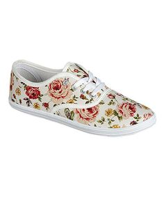 Another great find on #zulily! White Floral Lemon Sneaker #zulilyfinds