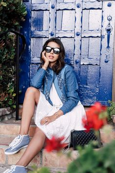 VivaLuxury - Fashion Blog by Annabelle Fleur: SPRING DENIM FAVORITES - REBECCA TAYLOR Sleeveless embroidered cami dress & patchwork chambray jacket | FEIYUE X SOLID & STRIPED Candice sneaker | CHANEL Boy flap bag in perforated leather | ILLESTEVA Boca mirrored sunglasses | NIALAYA bracelets May 6, 2016
