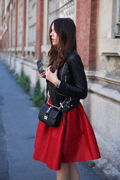 Red Midi Skirt, the 50ies inspired skirt, a white tank, a leather jacket and flat shoes. I love this outfit :)  MORE ON: http://www.ireneccloset.com/2014/05/gonna-anni-50.html streetstyle milano look woman 2014