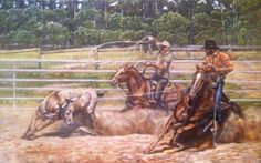Team roping painting giclee' print on by Horsesandhuntingdogs, $85.00