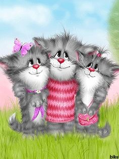 Hugs for friends Kitten Cartoon, Friend Cartoon, Cute Cartoon, Animals Beautiful, Cute Animals, Joy And Sadness, Cat Cupcakes, Cool Websites, Cute Love