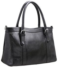 57e6cb7221 Iswee Womens Leather Shoulder Bag Satchel Handbags and Purse Classic Design  Tote for Ladies Black  . Top Handle ...