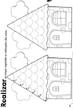 Little fairy tale cottage paper house pattern Preschool Printables, Kindergarten Worksheets, Preschool Activities, Pre Writing, Writing Skills, Tracing Worksheets, Educational Activities, Cursive, Fine Motor Skills