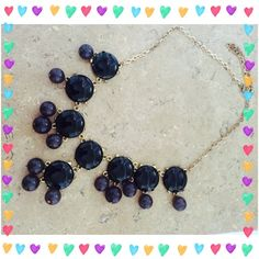 """🎉HP 5/17/16🎉 Purple & Black Bubble Necklace 🎉Best in Jewelry HP on 5/17/16 by @jcfung1🎉 Worn only once but has been sitting in my jewelry box awhile so chain has a bit of tarnish as pictured. Gold tone chain is 16""""-18"""" with extender. I have matching earrings too that are NWOT and will be included ✂️PRICE CUT 7/16/16, 8/31/16✂️ Boutique Jewelry Necklaces"""