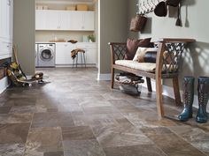 What is Tarkett® FiberFloor®? A new take on linoleum flooring. Beautiful and practical, FiberFloor® is designed with woven fiberglass, foam and tough, resilient wear layers that stand up to real-life water, moisture, scuffs, scratches and indentations in a warm, comfortable and it-looks-great kind of way. It's also an asthma & allergy friendly alternative to linoleum flooring.