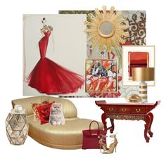 """Red and The Gold Art Deco Chaise Lounge..."" by kimberlyd-2 ❤ liked on Polyvore featuring interior, interiors, interior design, home, home decor, interior decorating, Worlds Away, Wendover Art Group, Bernhardt and Barbara Cosgrove"