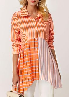 Asymmetric Hem Button Front Orange Blouse Women Clothes For Cheap, Collections, Styles Perfectly Fit You, Never Miss It! Stylish Tops For Girls, Trendy Tops For Women, Blouses For Women, Women's Blouses, Orange Blouse, Orange Fashion, Printed Blouse, Blouse Designs, Knitwear