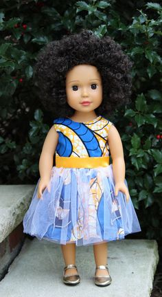 NEW- Light Brown Skin Tone Doll Curly Afro