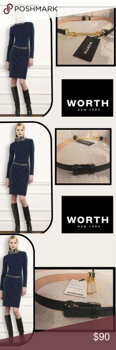 """🆕Worth New York🖤SpruceGreen LeatherSafetyPinBelt Worth New York🖤Class and Sophistication🖤 Spruce Green Leather Safety Pin Belt🖤C144BT06🖤100% Leather🖤total length 33""""🖤high polish gold safety pin,buckle closure for optimal design Worth New York Accessories Belts"""